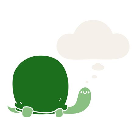 cute cartoon tortoise with thought bubble in retro style