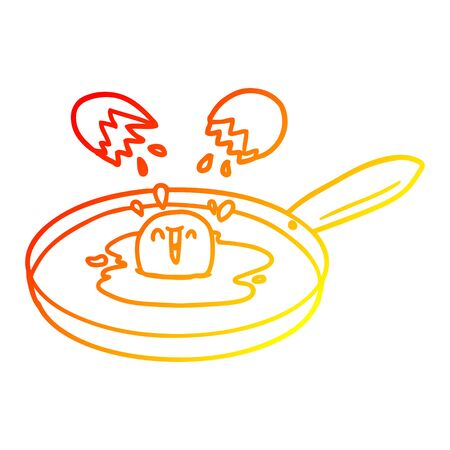 warm gradient line drawing of a cartoon egg frying Stock Illustratie