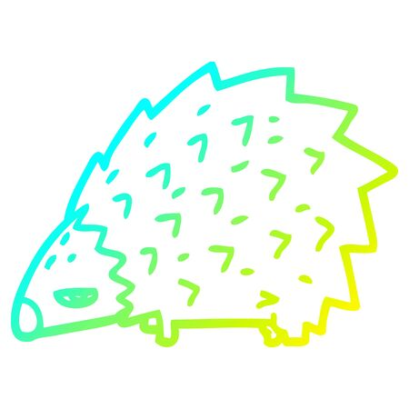 cold gradient line drawing of a cartoon angry hedgehog