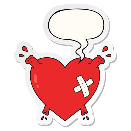 cartoon heart squirting blood with speech bubble sticker