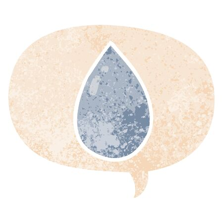 cartoon water droplet with speech bubble in grunge distressed retro textured style Illustration