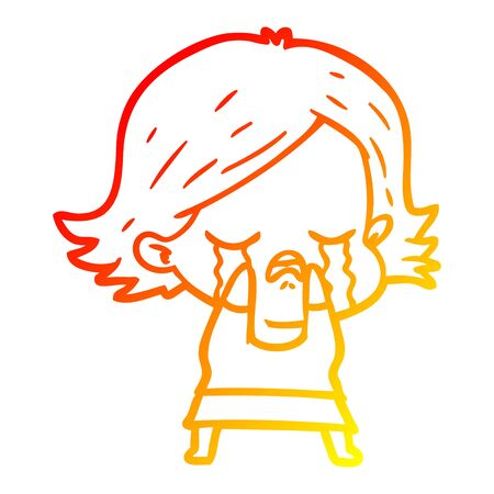 warm gradient line drawing of a cartoon girl crying  イラスト・ベクター素材