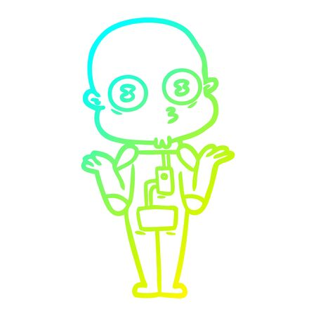 cold gradient line drawing of a confused weird bald spaceman 일러스트