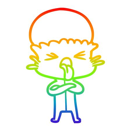 rainbow gradient line drawing of a disgusted cartoon alien