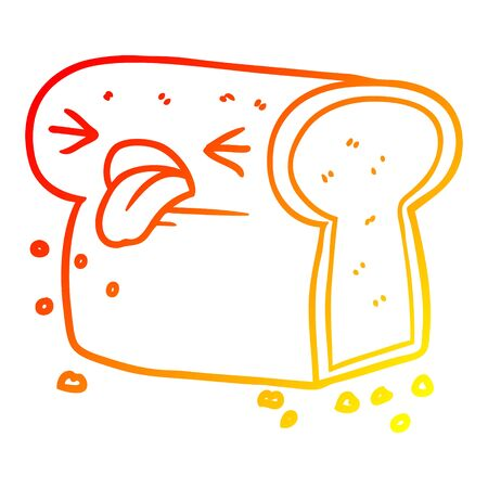 warm gradient line drawing of a cartoon disgusted loaf of bread
