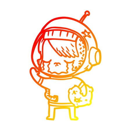 warm gradient line drawing of a cartoon crying astronaut girl carrying rock sample  イラスト・ベクター素材