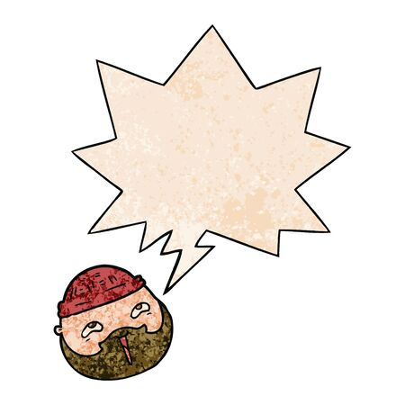 cartoon male face with beard with speech bubble in retro texture style