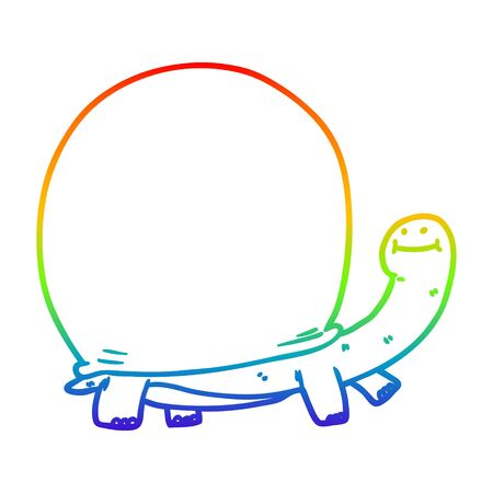 rainbow gradient line drawing of a cartoon tortoise