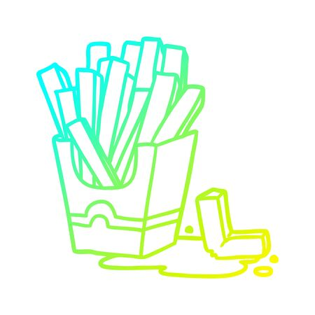 cold gradient line drawing of a junk food fries 向量圖像
