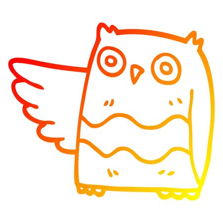 warm gradient line drawing of a cartoon happy owl Illusztráció