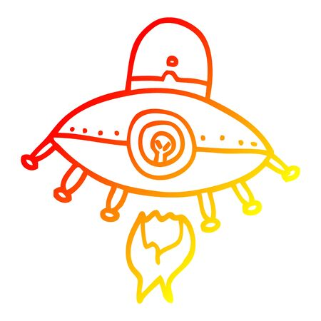 warm gradient line drawing of a cartoon alien spaceship 向量圖像