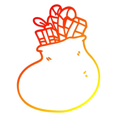 warm gradient line drawing of a cartoon bag of christmas presents