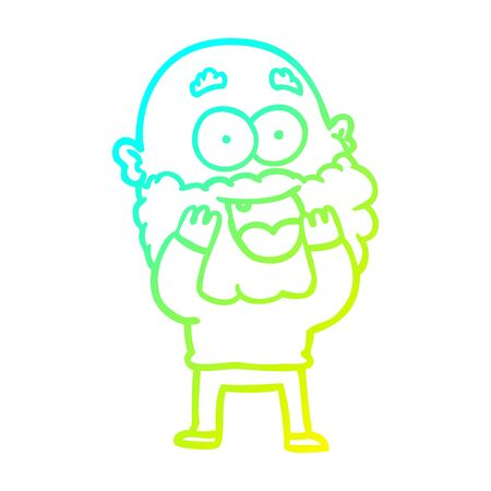 cold gradient line drawing of a cartoon crazy happy man with beard gasping