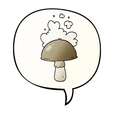 cartoon mushroom with spore cloud with speech bubble in smooth gradient style Illustration