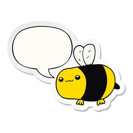 cartoon bee with speech bubble sticker Ilustrace