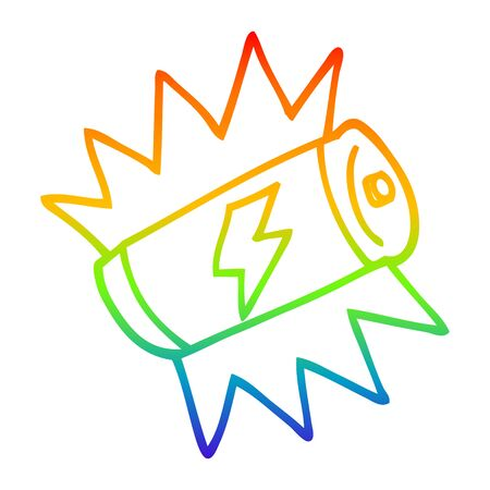 rainbow gradient line drawing of a cartoon fully charged battery Illusztráció