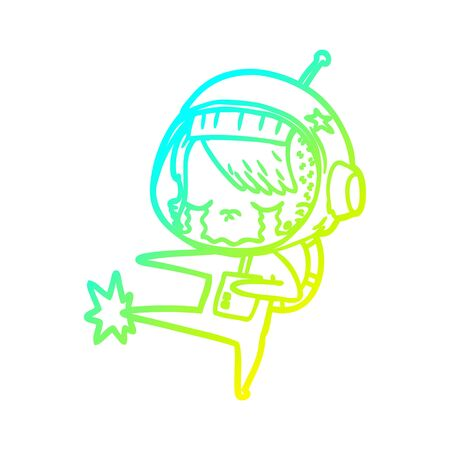 cold gradient line drawing of a cartoon crying astronaut girl kicking  イラスト・ベクター素材