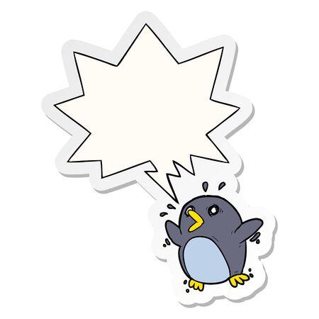 cartoon frightened penguin with speech bubble sticker