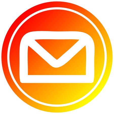envelope letter circular icon with warm gradient finish Иллюстрация