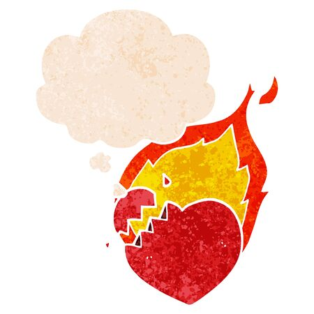 cartoon flaming heart with thought bubble in grunge distressed retro textured style