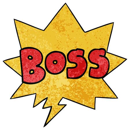 cartoon word boss with speech bubble in retro texture style 向量圖像