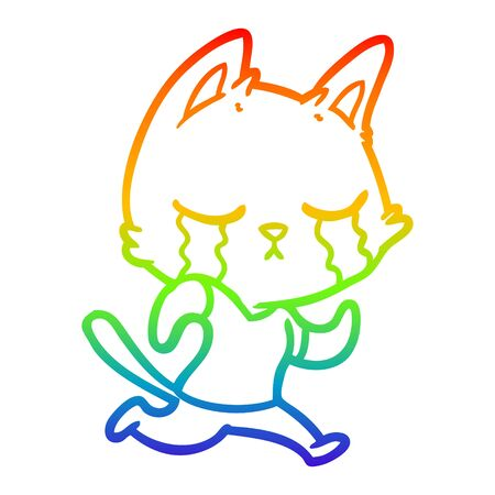 rainbow gradient line drawing of a crying cartoon cat running away Иллюстрация
