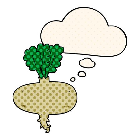 cartoon beetroot with thought bubble in comic book style Illustration