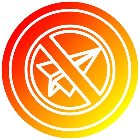 paper plane ban circular icon with warm gradient finish