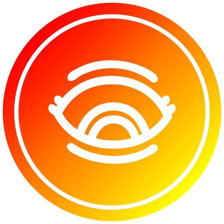 staring eye circular icon with warm gradient finish Иллюстрация