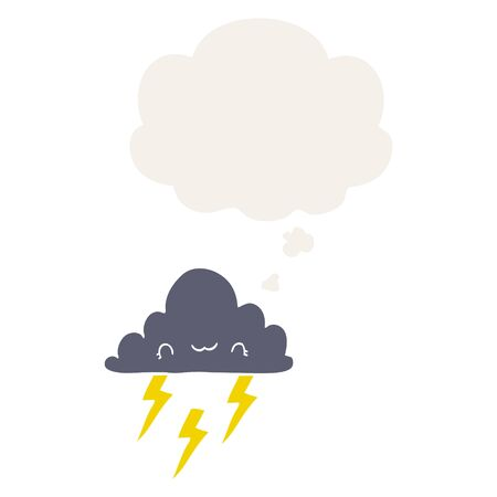 cartoon storm cloud with thought bubble in retro style
