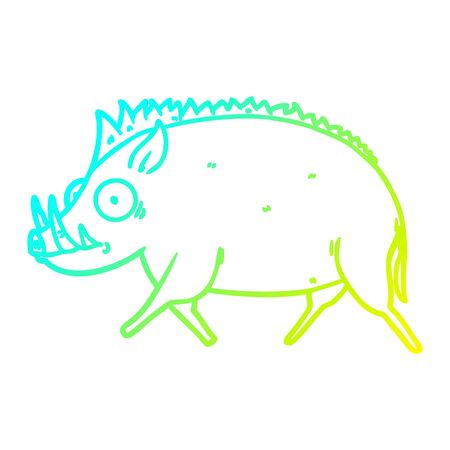 cold gradient line drawing of a cartoon wild boar