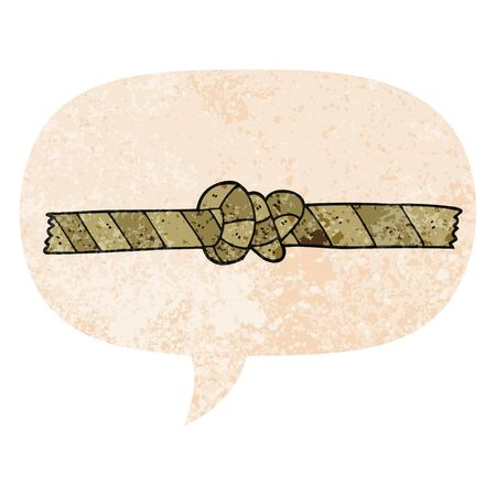 cartoon knotted rope with speech bubble in grunge distressed retro textured style
