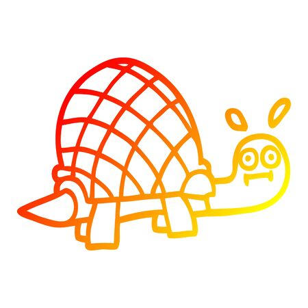 warm gradient line drawing of a cartoon funny tortoise Stock Illustratie