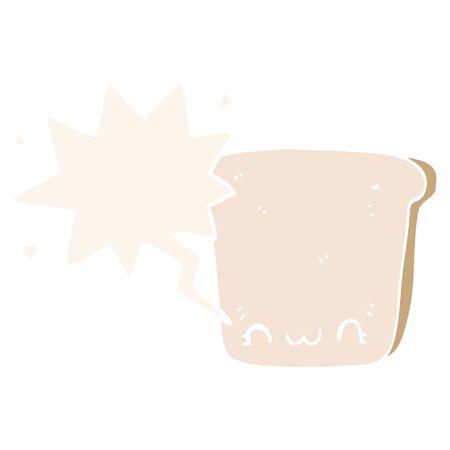 cartoon slice of bread with speech bubble in retro style 写真素材 - 129916875