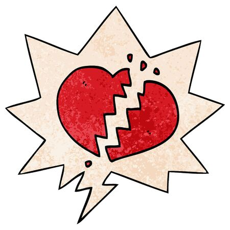 cartoon broken heart with speech bubble in retro texture style