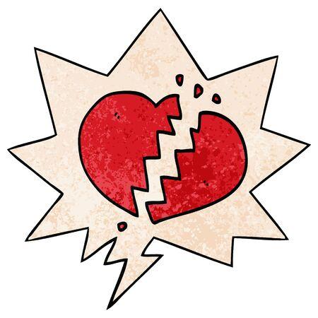 Cartoon gebrochenes Herz mit Sprechblase im Retro-Textur-Stil Vektorgrafik