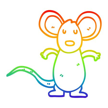 rainbow gradient line drawing of a cartoon mouse rat