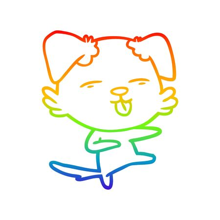 rainbow gradient line drawing of a cartoon dog dancing