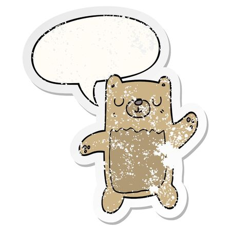 cartoon bear with speech bubble distressed distressed old sticker