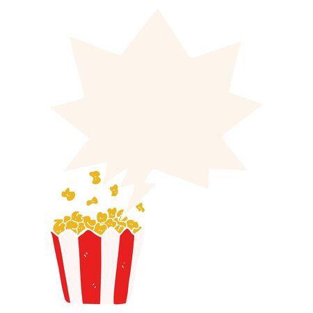 cartoon popcorn with speech bubble in retro style