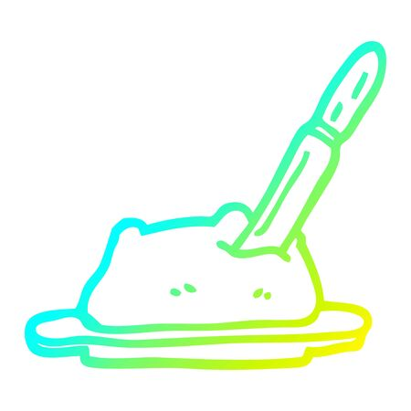 cold gradient line drawing of a cartoon butter and knife