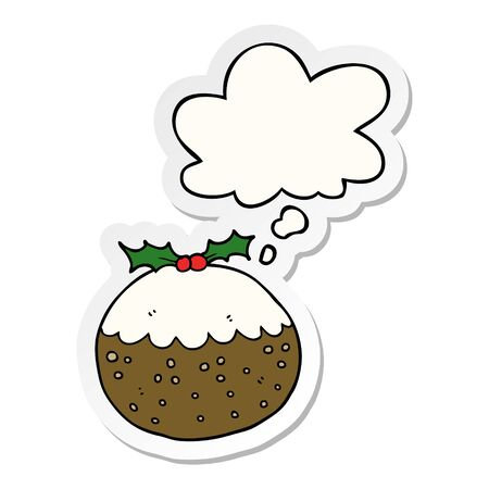 cartoon christmas pudding with thought bubble as a printed sticker Çizim