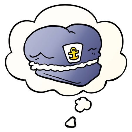 cartoon sailor hat with thought bubble in smooth gradient style Ilustração