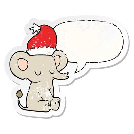 cute christmas elephant with speech bubble distressed distressed old sticker Stockfoto - 129916802