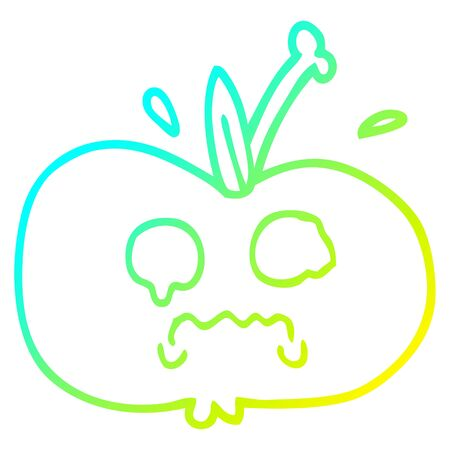 cold gradient line drawing of a cartoon of a sad apple Illustration