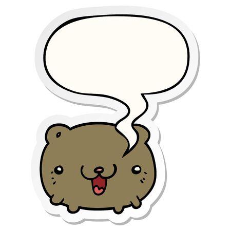 funny cartoon bear with speech bubble sticker