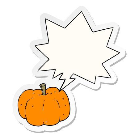 cartoon pumpkin with speech bubble sticker