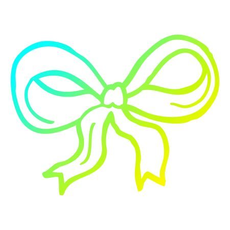 cold gradient line drawing of a cartoon decorative bow