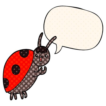 cute cartoon ladybug with speech bubble in comic book style