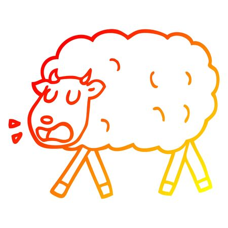 warm gradient line drawing of a cartoon sheep